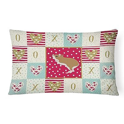 Caroline's Treasures CK5446PW1216 White Legged Hamster Love Canvas Fabric Decorative Pillow Patio-Furniture-Pillows, Multicolor : Garden & Outdoor
