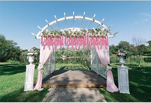 Wisteria Flores artificiales con tallo 3.6 pies/pieza, Románticas flores colgantes para decoración rústica de boda, elegante fiesta en el hogar y decoración de ceremonia 12 unidades: Amazon.es: Hogar