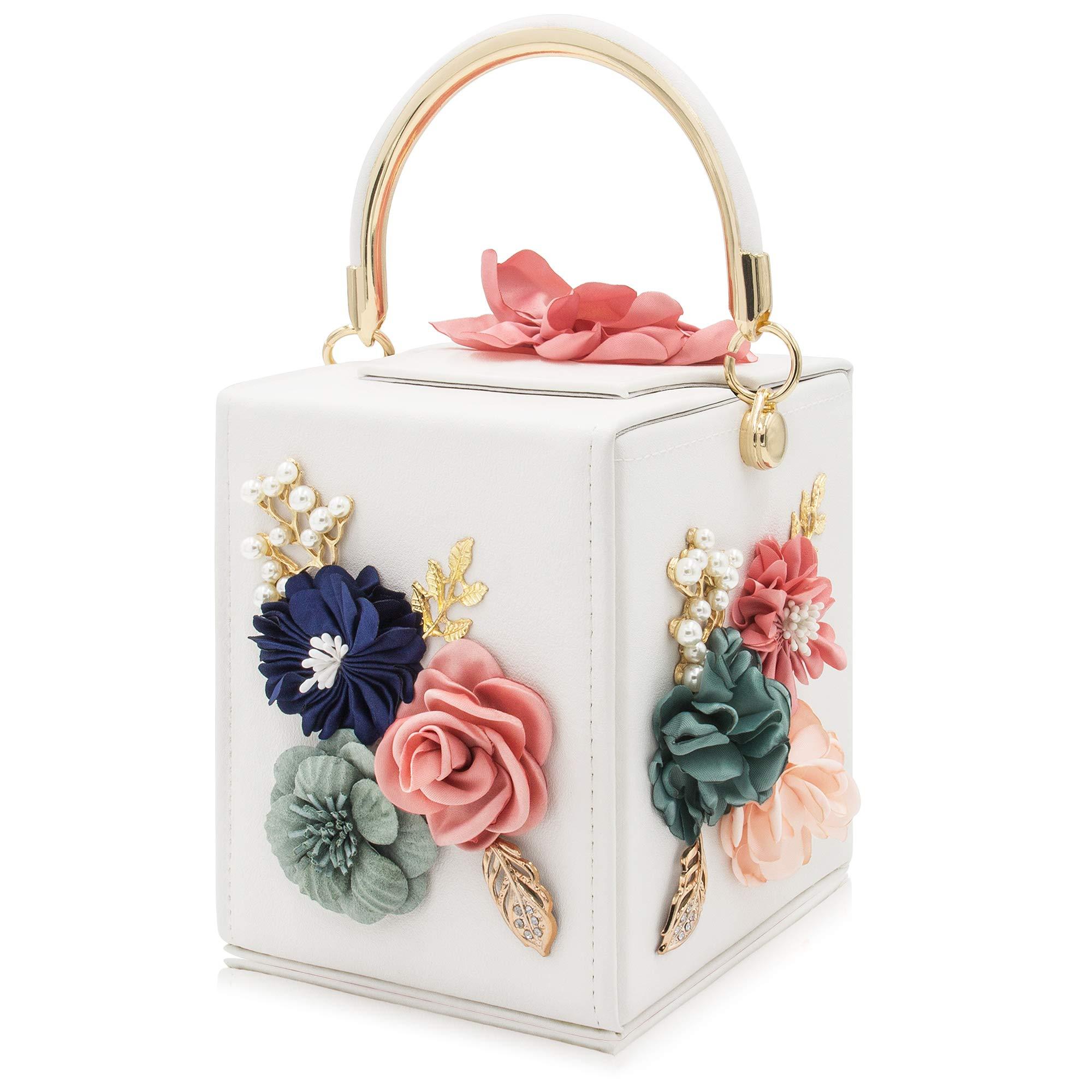 Milisente Women Clutches Flower Clutch Bag Box Clutch Purse Evening Handbag (White)