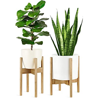 GreeMoose Plant Stand Mid Century Indoor, Bamboo, Adjustable (8 -12 Inch), Swedish Style (Planter Not Included) : Garden & Outdoor