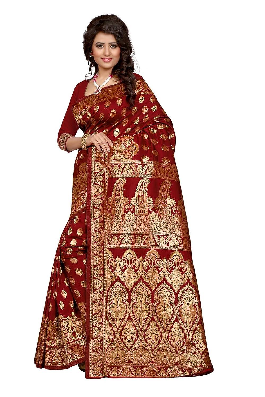 shree sanskruti tassar silk saree banarasi 1002 red red amazon