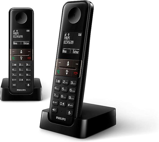 Philips D4702B/34 - Pack de 2 Teléfonos Fijos Inalámbricos (Retroiluminación, HQ-Sound, 16 Horas, Contacto 2 Números, Manos Libres, My Sound, Modo Privado, Despertador, Indicador Evento, Eco+) Negro: Amazon.es: Electrónica