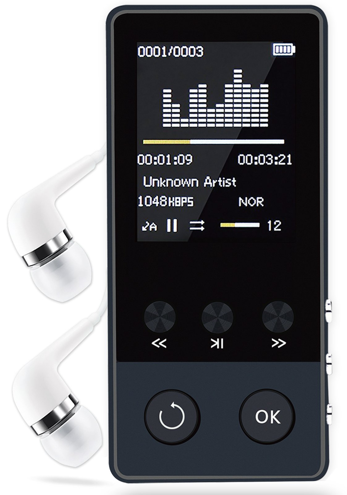 MP3 Player with Bluetooth,8GB Hi-Fi Lossless Sound Music Player with FM Radio Voice Recorder,Portable Digital MP3 Player(Supports up to 64GB SD Card)