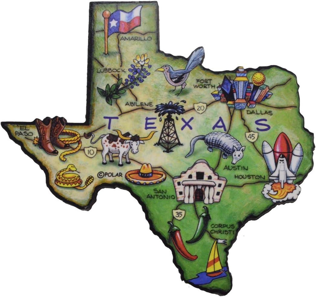 Texas The Lone Star State Large State Shaped Artwood Jumbo Fridge Magnet
