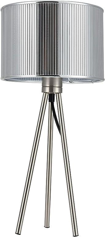 Tischlampe Tischleuchte Stoff Kristall Schwarz Chrom 1x40W Lampe Leuchte Tisch