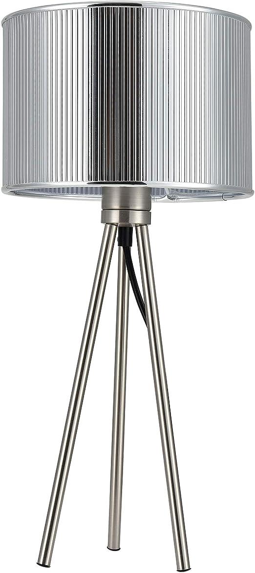 Lux.pro] Lámpara de mesa moderna (E14) - diseño trípode - plateada ...