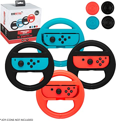 Steering Wheels for Nintendo Switch Mario Kart Racing 4-Pack (2 Black, Red, and Blue) by EVORETRO: Amazon.es: Videojuegos