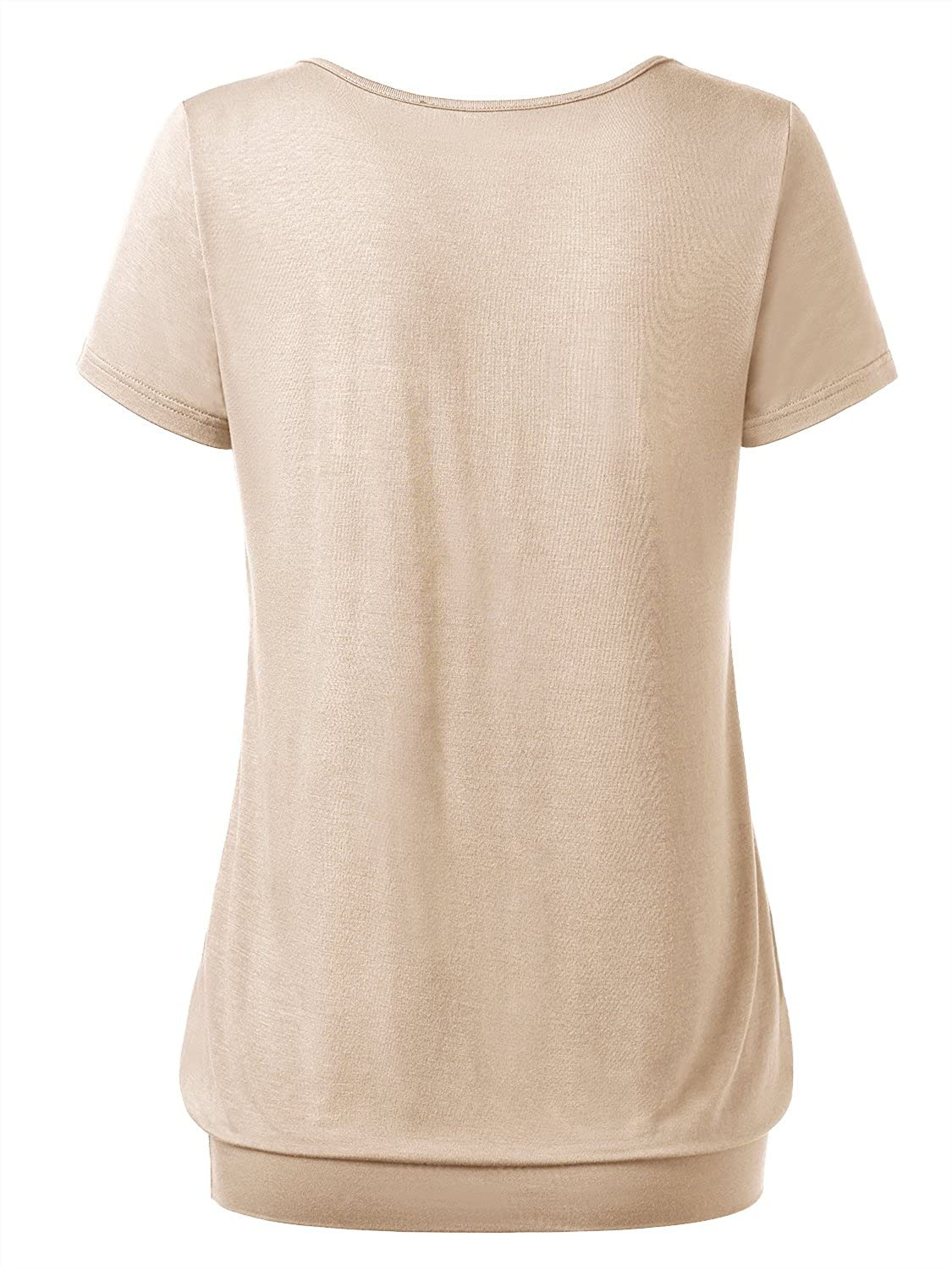 DJT Womens V Neck Ruched Front Casual Short Sleeve Jersey Tops