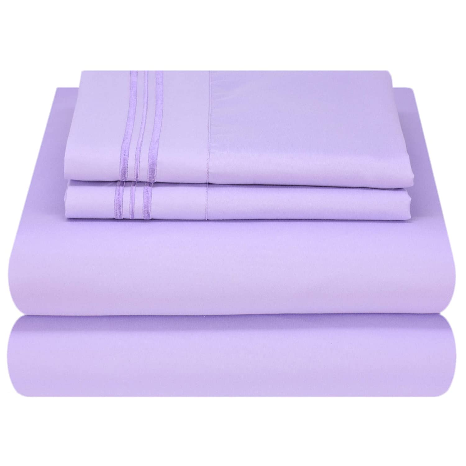 Mezzati Luxury Bed Sheet Set - Soft and Comfortable 1800 Prestige Collection - Brushed Microfiber Bedding (Lilac Lavender, Full Size)