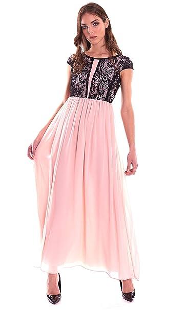 best service eabaa a1997 Luckylu Abito Lungo Pizzo Rosa Nero: Amazon.it: Abbigliamento