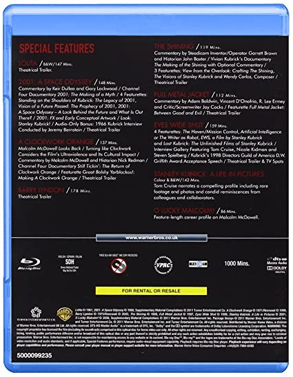 The Stanley Kubrick Collection 8 Blu-Ray Edizione: Regno Unito Reino Unido Blu-ray: Amazon.es: Kubrick, Stanley: Cine y Series TV