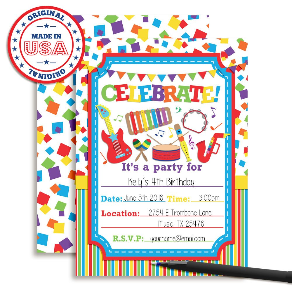 "Amazon.com: Celebrate with Musical Instruments Birthday Party Invitations, 20 5""x7"" Fill in Cards with Twenty White Envelopes by AmandaCreation: Toys & ..."