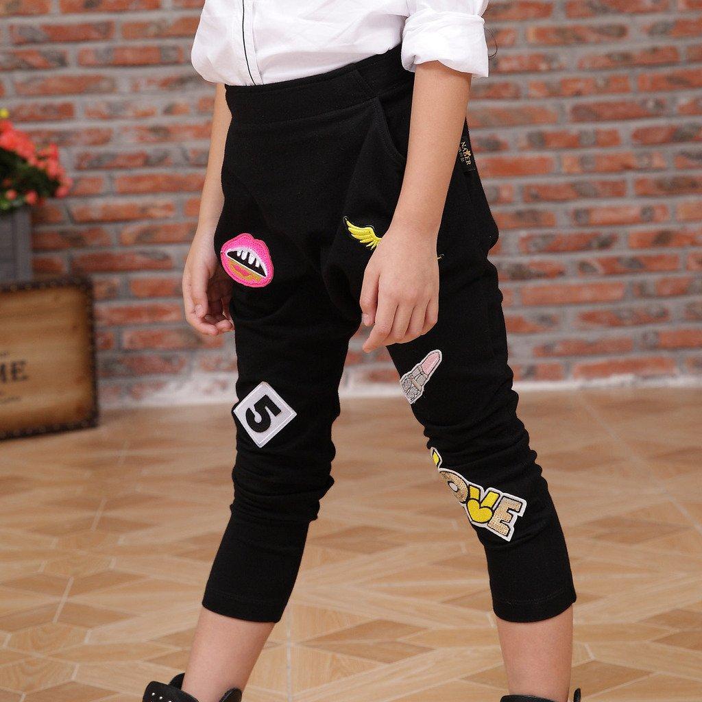 NABER Kids Girls Hip-hop Slim Stretch Waist Sports Pants Dance Trousers 4-13 Y