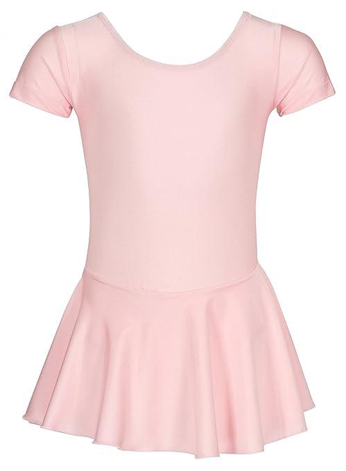 tanzmuster Kinder Kurzarm Ballett Trikot Marina aus glänzendem Lycra mit angenähtem Röckchen in rosa, weiß, schwarz, Lavendel
