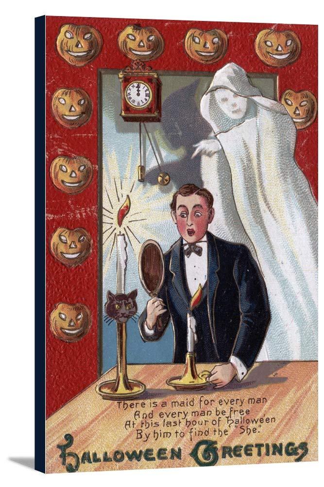 ハロウィンGreeting – Man and Ghost 22 5/8 x 36 Gallery Canvas LANT-3P-SC-10419-24x36 22 5/8 x 36 Gallery Canvas  B018C26WRM