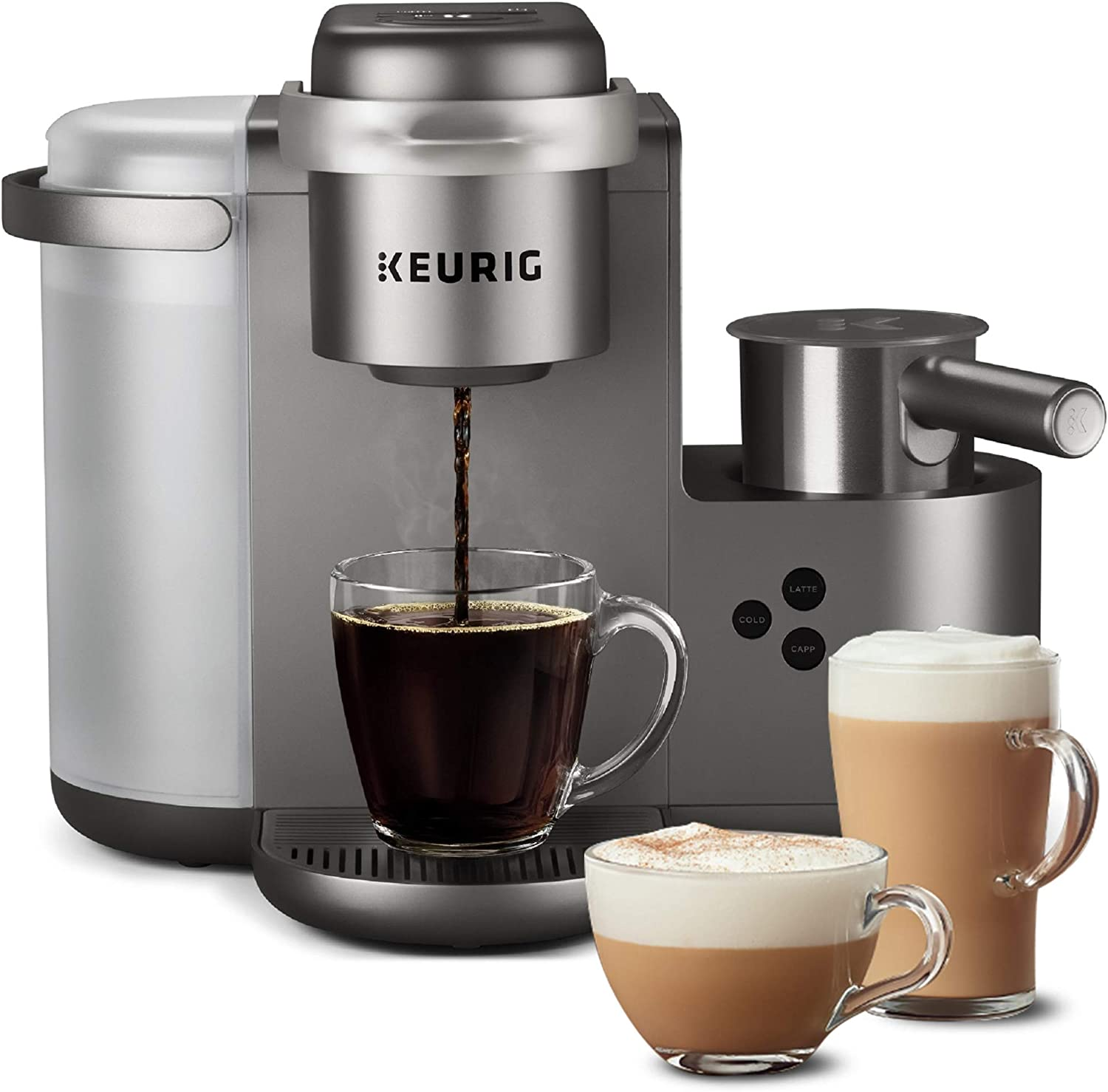 Keurig K-Cafe Special Edition Coffee Maker, Single Serve K-Cup Pod Coffee, Latte and Cappuccino Maker, Comes with Dishwasher Safe Milk Frother, Coffee Shot Capability, Nickel (Renewed)