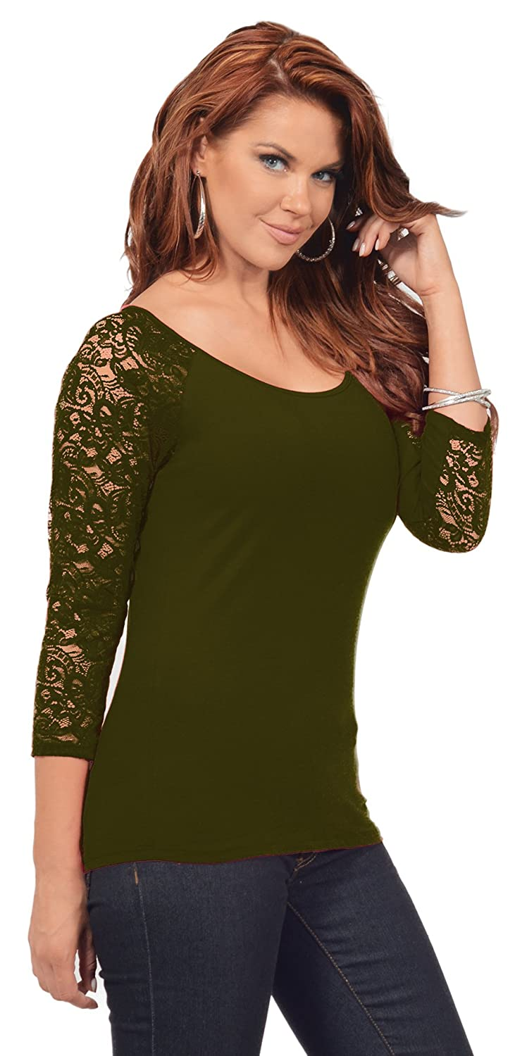 Hot from Hollywood - Camiseta - para mujer verde Martini Olive Large: Amazon.es: Ropa y accesorios
