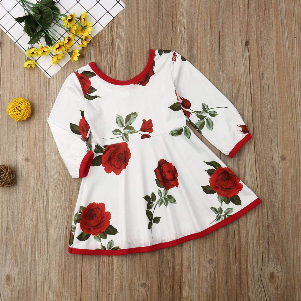 Lamuusaa Baby Kid Girls Floral Dress Long Sleeve Party Wedding Pageant Princess Dresses Fall Winter Clothes 0-5Y