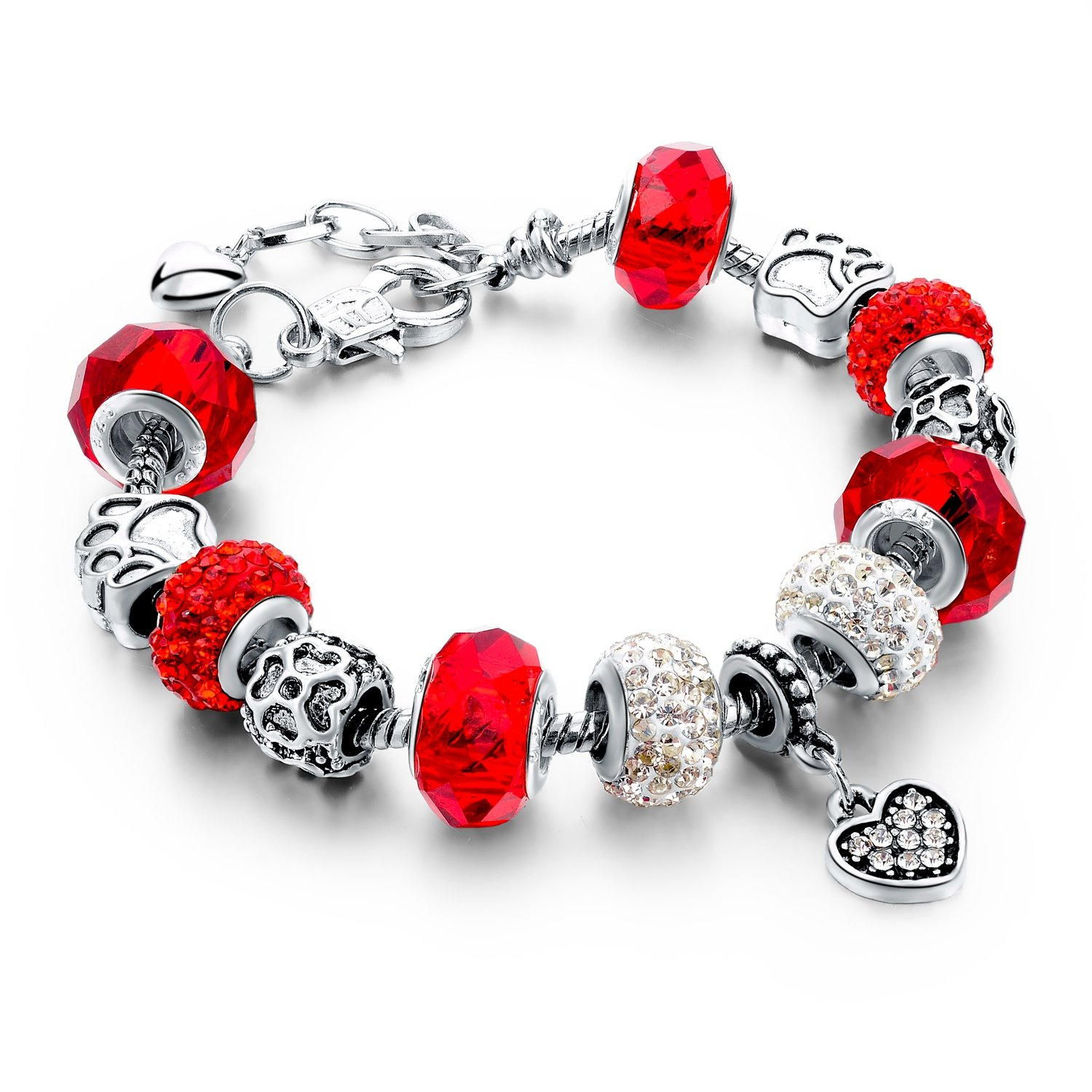 Long Way Silver Plated Snake Chain Red Glass Crystal Beads Heart Charm Bracelet for Women
