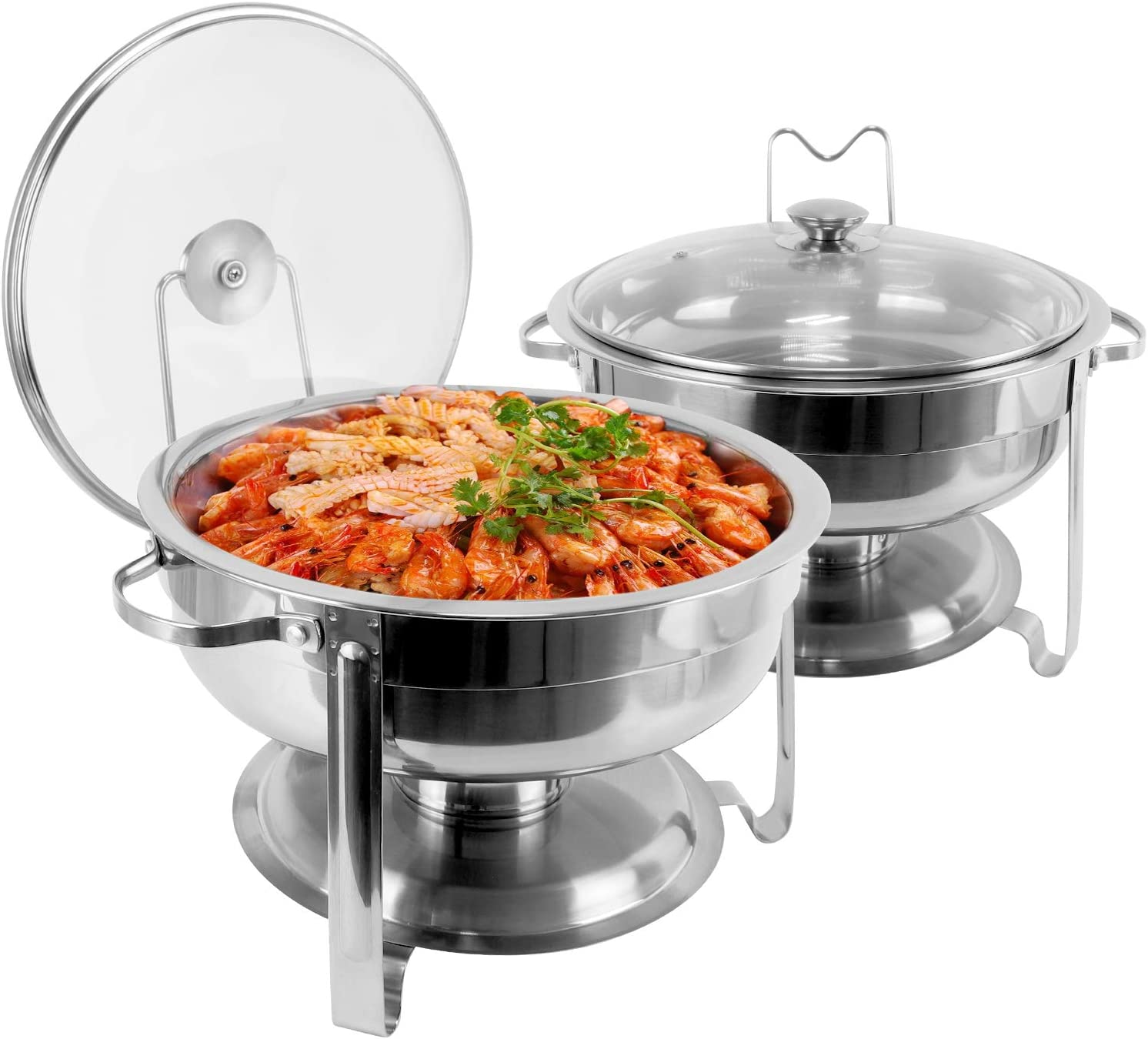 430 Stainless Steel Chafing Dish Buffet Warmer Set, 4 Quart Round Chafer Dish with Lid & Lid Holder For Buffet Weddings Parties Banquets Catering Events (A Set of Two)