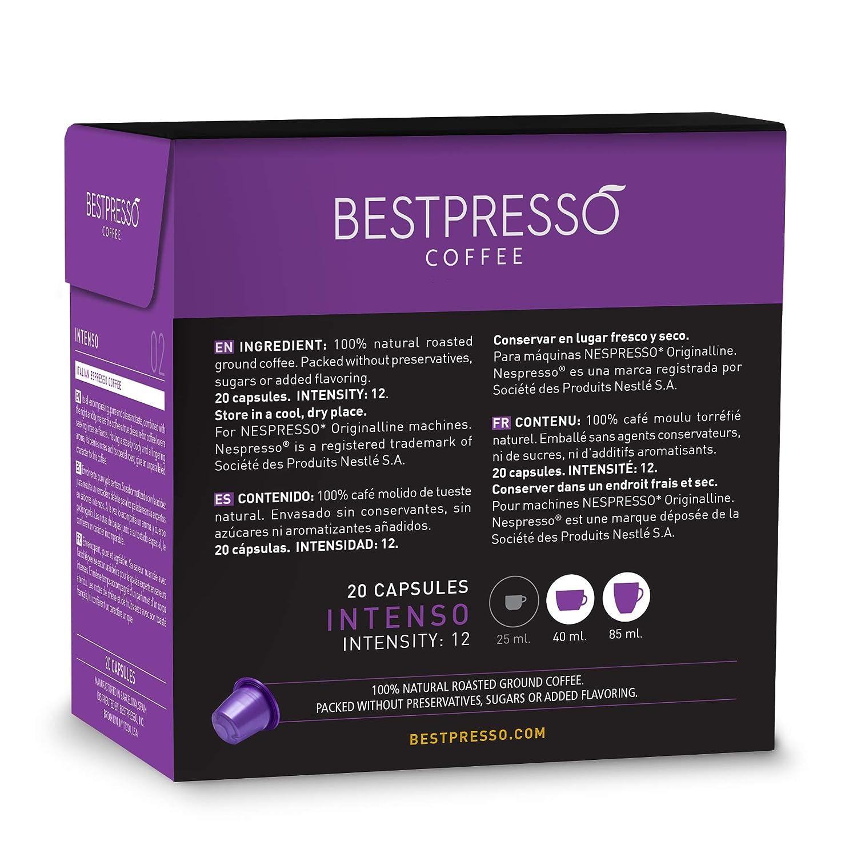 Bestpresso Coffee for Nespresso Original Machine 120 pods Certified Genuine Espresso Intenso Blend(High Intensity), Pods Compatible with Nespresso ...