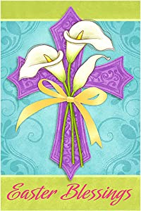 Morigins Easter Blessings Decorative Religious Cross Garden Flag Double Sided 12.5 x 18 Inch
