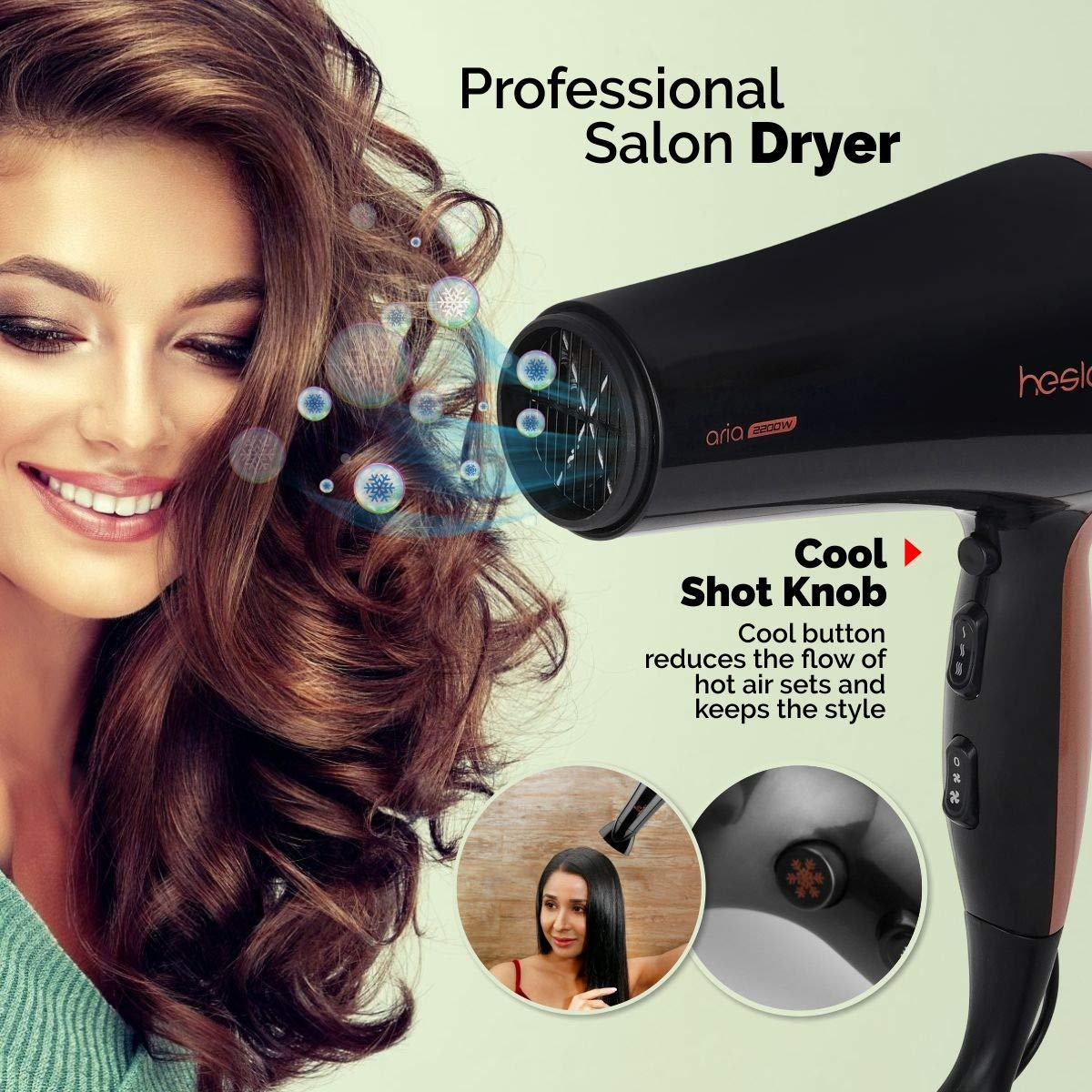 ARIA PROFESSIONAL HAIR DRYER 2200 W WITH COOL SHOT KNOB