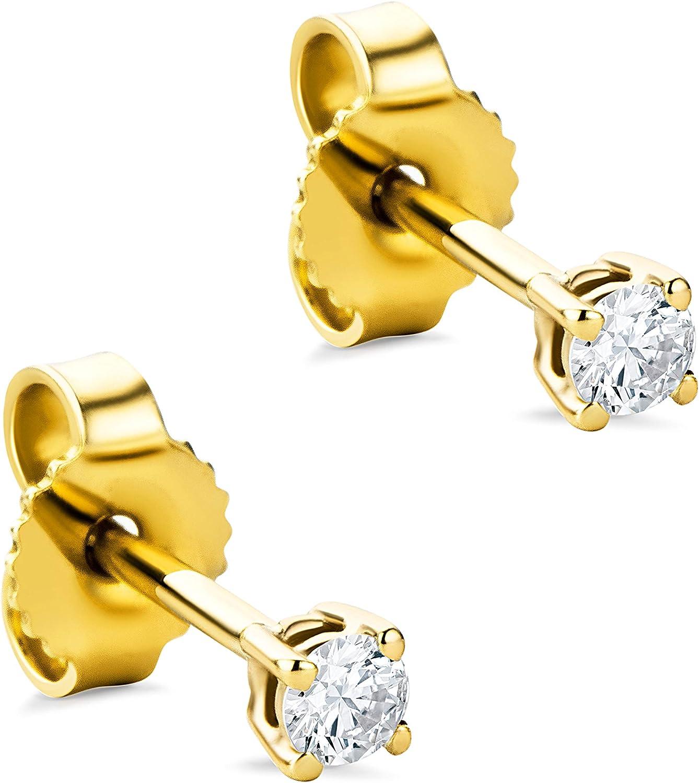 Orovi - Pendientes para mujer con diamantes de oro amarillo de 14 quilates (585) y diamante de 0,12 quilates