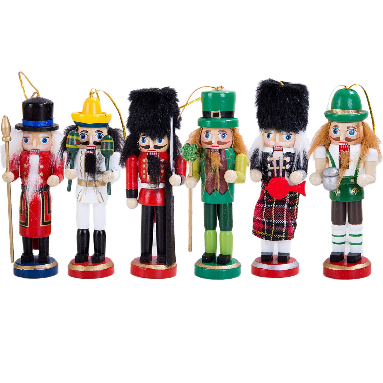 "Anlydia 6pcs Wooden Nutcracker Ornament Set Handpainted Assorted Set 5"" Tall Christmas Home Ornament Set"