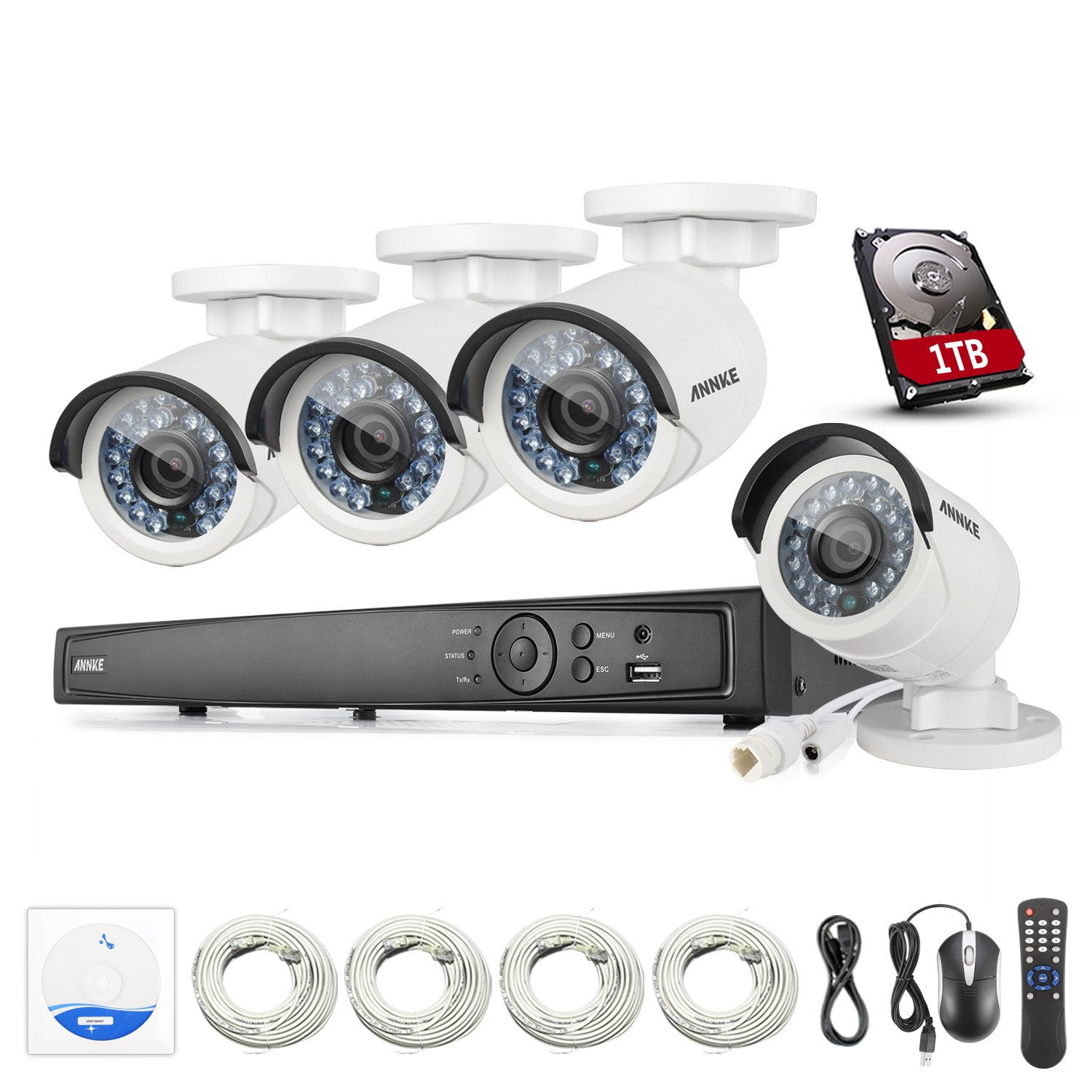 ANNKE 8CH 6.0MP NVR Surveillance Video Security Camera System with 4.0MP IP Bullet Cameras, 100ft Super Night Vision, Compatible with Hikvison & Dahua ONVIF Network Camera, One 1TB HDD Included