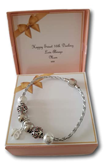 ddce93738 Sweet 16 Birthday silver leather charm bracelet gift present with  personalised insert: Amazon.co.uk: Jewellery