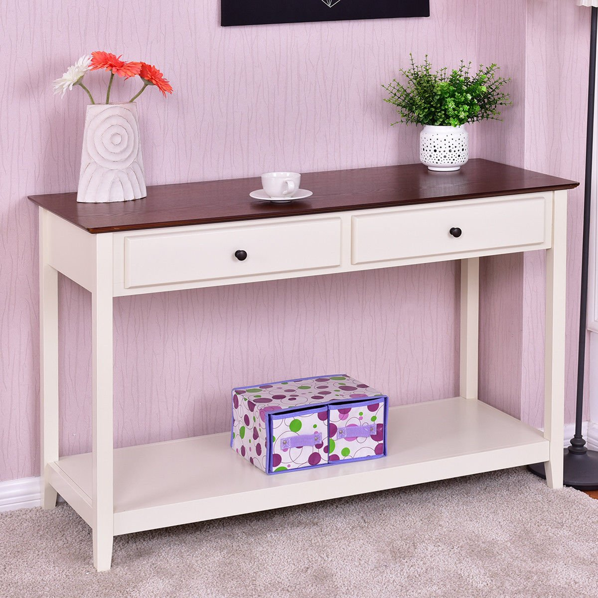 Wood Console Sofa Table Accent Stand with Drawer and Shelf by yunita_salon
