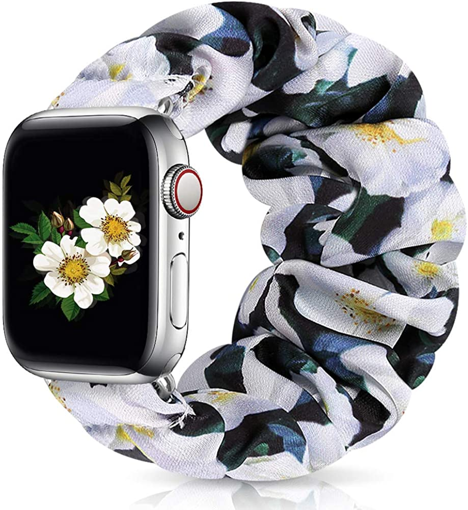 Runostrich Scrunchie Apple Watch Band Floral for iwatch 40mm 38mm, Soft Wristband Elastic Scrunchy Straps Women Bracelets Replacement Band for Apple Watch SE Series 6 5 4 3 2 1