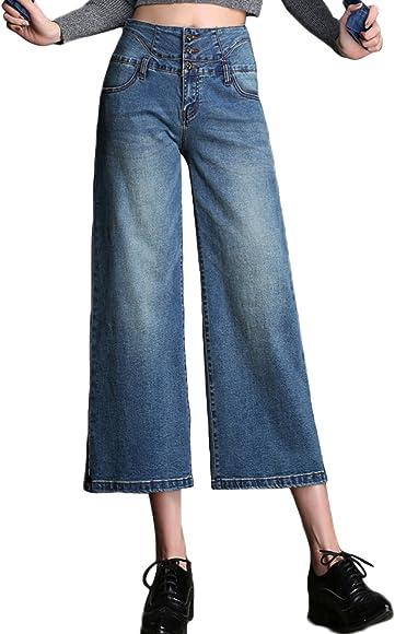 4fbe6f39499b PHOENISING Women's Fashion Cropped Length Jeans Summer Denim Wear Wide Leg  Style Cropped Pants,Size