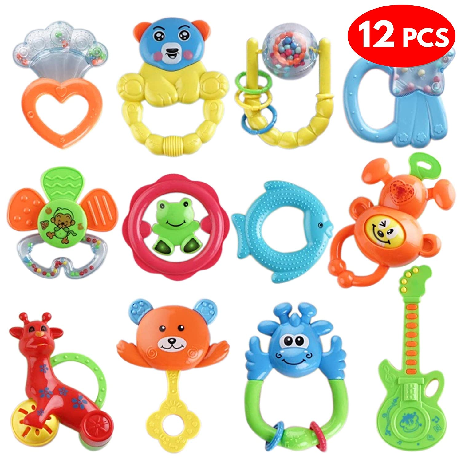 12 Pcs Baby Rattles Teether Toys Set - Bright & Attractive Candy Colours - Assorted Choices Teethers, Spin Rattle, Shaking Bell, Grab Toys for Newborn Infant & Toddler Sensory Set- 100% Non Toxic & BPA Free chuckle