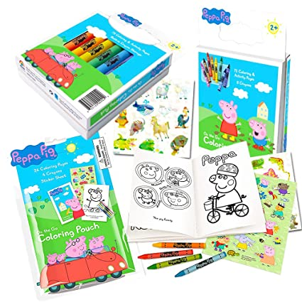 Amazon Com Peppa Pig Coloring Book Set With Peppa Pig Stickers And