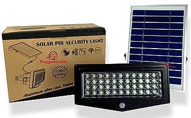 High Power 1000 Lumen Solar Motion LED Flood Light 10 watts of High Power Light Commercial Grade Flood Light Adjustable Mount Solar LED Floodlight 8000mAh Rechargeable Battery – 4 Modes