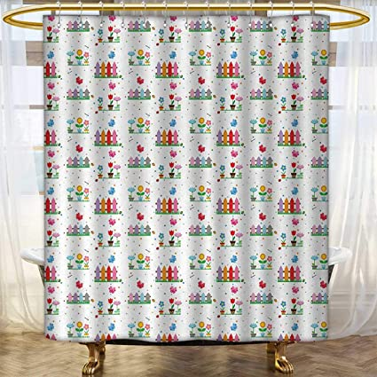 Anhounine Floral Shower Curtains Fabric Bedding Plants Garden Fences Cottage Yard Flowers In Pots Childish Beetles