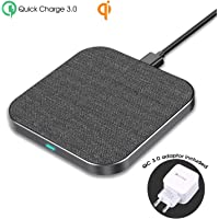 Wefunix Cargador Inalámbrico Rápido [USB C]+Adaptador QC 3.0, 7.5W Qi Quick Charge 3.0 Wireless Charger para iPhone XS Max XR X 8 plus Mix 2S, 10W para Samsung Galaxy S9 S9+ S8 S8+ Note 9/8 etc - MC40