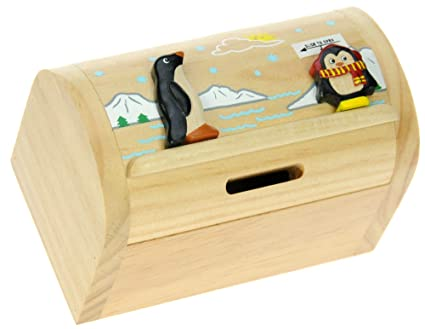 Namesakes Childrens Money Box Piggy Bank For Kids Adults Cute Penguin Baby With Secret Lock Wooden Toy For Boys Girls Size 12 X 9 X 7cm