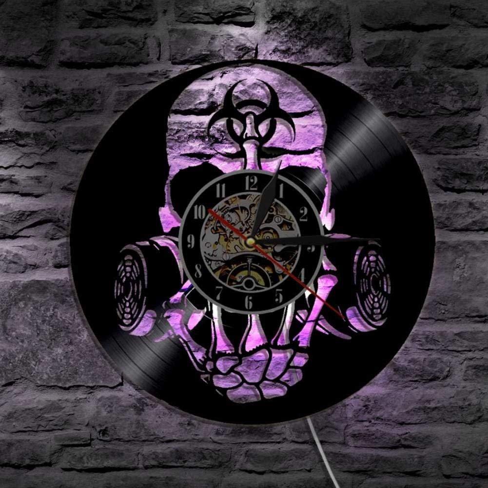 12  Giftig Biohazard Zombie Gas Maske Schädel Vinyl Uhr Angeführt Wand Licht Entfernt Steuerung Moderne Kunst Rücklicht Leben Zimmer Innere