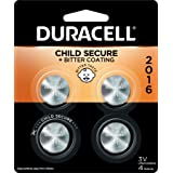 Duracell - 2016 3V Lithium Coin Battery - With Bitter Coating - 4 Count