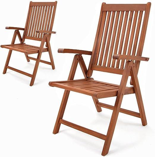 Set de 2 chaises pliantes Vanamo en bois d'eucalyptus chaise de jardin pliable fauteuil de jardin en bois