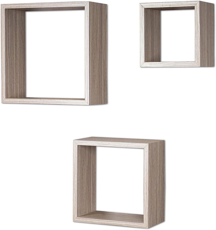 3er Set Cube Wandregal Regal 25cm 20cm 15cm Holz Dekor Eiche