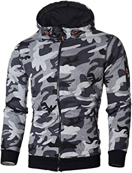 F/_Gotal Mens Casual Long Sleeve Camouflage Printed Sports Outwear Hooded Sweatshirts Mens Camo Hoodies