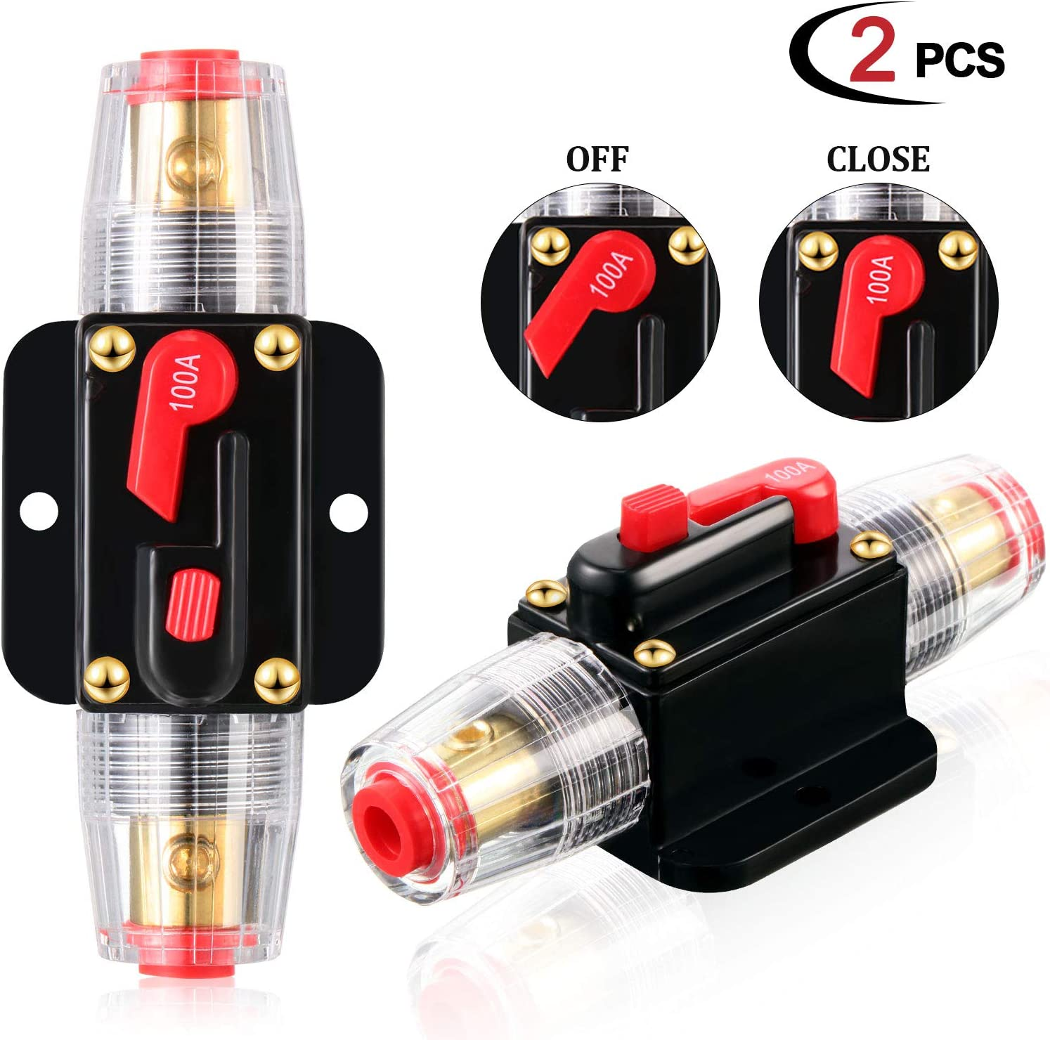 2 Pieces Audio Inline Circuit Breaker 100A Waterproof Auto Car Protection Stereo Switch Fuse Holder 12V-24V DC Manual Reset Fuse Holder for Automotive Marine Boat Audio System Overload Protection