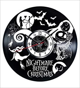 The Nightmare Before Christmas Wall Clock Vintage Record - Get Unique Home and Office Decor Bedroom Kitchen Kids Living Room - Gifts for Men Women Kids Father Mother - Wall Art - Free Personalization