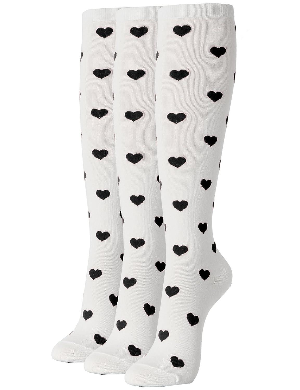 Women's Red Queen White Black Heart Knee-High Socks