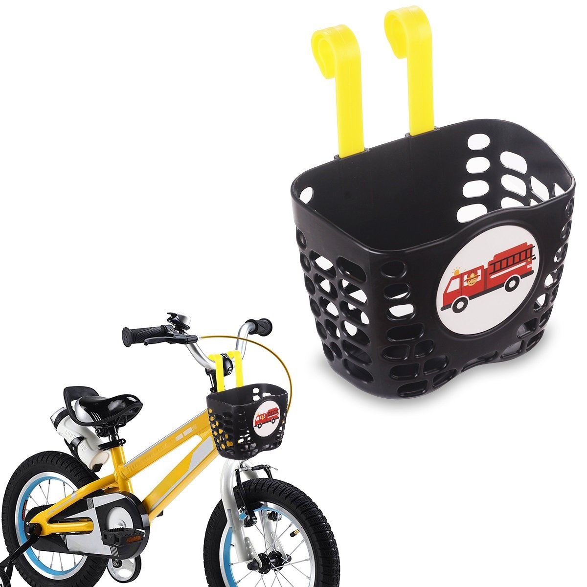 Mini-Factory Kid's Bike Basket, Cute Fire Truck Pattern Bicycle Handlebar Basket for Boy - Fire Truck
