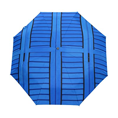 DOENR Compact Travel Umbrella Blue Door Sun and Rain Auto Open Close Umbrellas Windproof UV Protection Umbrella
